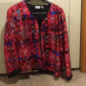 Bright red and pink silk jacket
